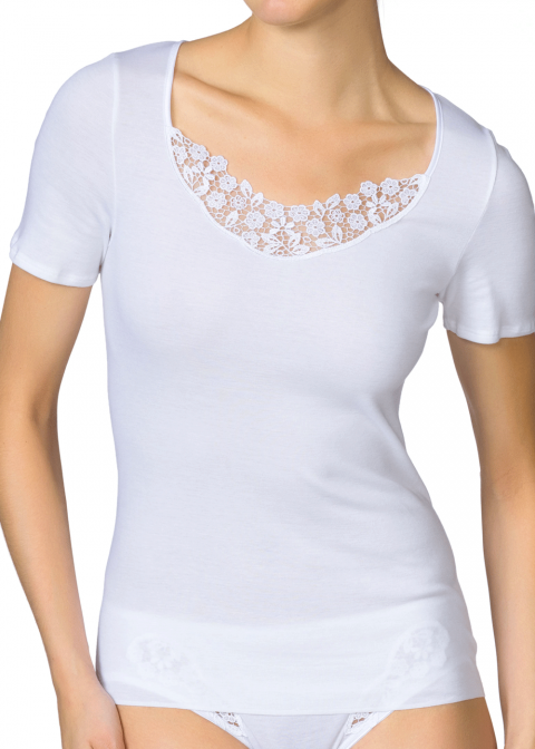 Tee-shirt Manches Courtes Calida Blanc