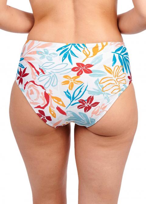 Culotte Taille Haute Maillots de Bain Sans Complexe Imprime Floral Blanc